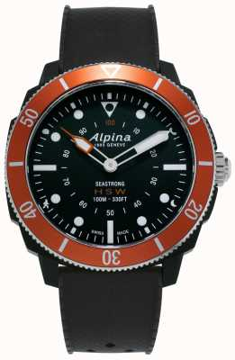 Alpina Seastrong   reloj inteligente de relojería   correa de silicona negra   bisel naranja AL-282LBO4V6