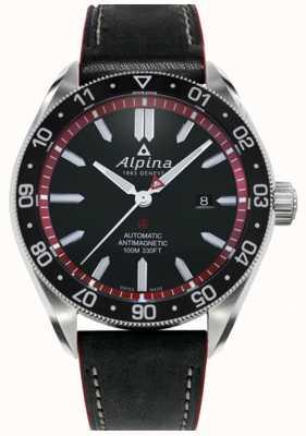 Alpina Alpiner 4 | correa de cuero negro | esfera negra | automático AL-525BR5AQ6