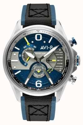 AVI-8 Hawker harrier ii | cronógrafo | esfera azul | Correa de piel azul nato negra AV-4056-01