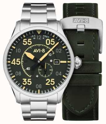 AVI-8 Spitfire | automático | pulsera de acero inoxidable con esfera verde | correa de cuero adicional AV-4073-22
