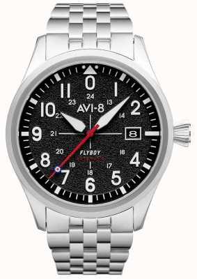 AVI-8 Flyboy | automático | esfera negra | pulsera de acero inoxidable AV-4075-11