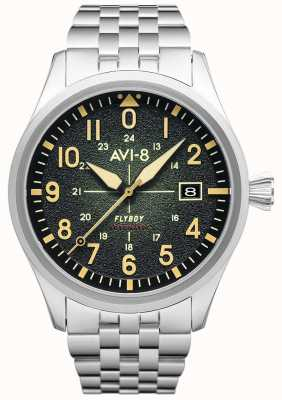 AVI-8 Flyboy | automático | esfera verde | pulsera de acero inoxidable AV-4075-33