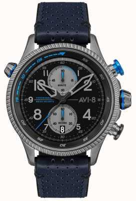 AVI-8 Cazador de halcones | cronógrafo | esfera negra | correa de cuero azul AV-4080-02