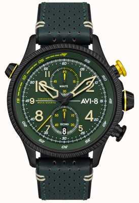 AVI-8 Cazador de halcones | cronógrafo | esfera verde | correa de cuero verde AV-4080-03