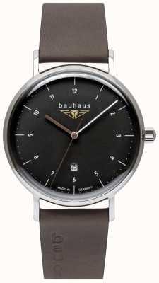 Bauhaus Correa de cuero italiano gris para hombre | esfera negra 2142-2