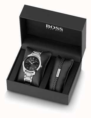 BOSS Conjunto de reloj de acero inoxidable para hombre y pulsera de cuero negro 1570084