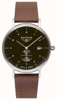 Bauhaus Correa de cuero italiano marrón para hombre | esfera negra 2132-2