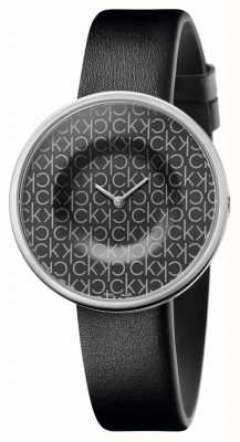 Calvin Klein | mujer | manía | correa de cuero negro | esfera negra con patrón ck | KAG231CX
