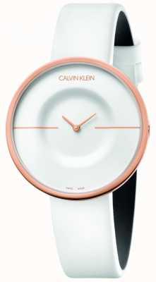 Calvin Klein | mujer | manía | correa de piel blanca | caja de oro rosa | KAG236L2