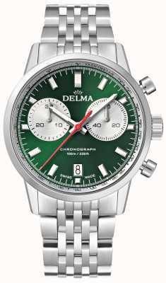 Delma Cronógrafo continental | pulsera de acero inoxidable | esfera verde 41701.704.6.141