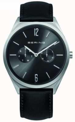 Bering Colección clásica | correa de cuero negro | esfera negra 17140-402