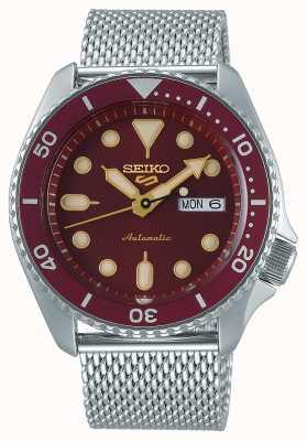 Seiko 5 deporte | hombres | pulsera de malla de acero | esfera roja | automático | SRPD69K1
