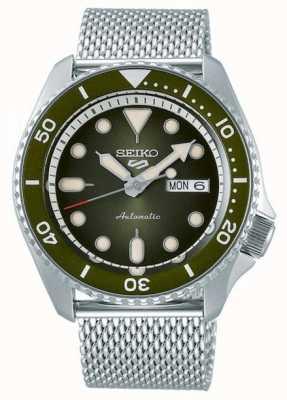 Seiko 5 deporte | hombres | pulsera de malla de acero | esfera verde | SRPD75K1