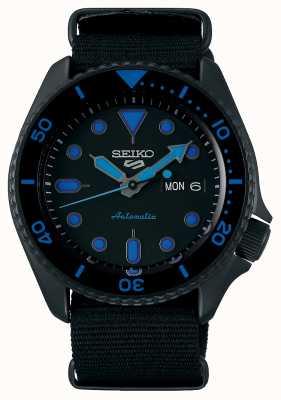 Seiko 5 deportes | hombres | correa de nailon negra | esfera negra / azul SRPD81K1