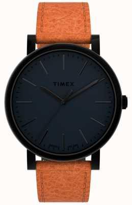 Timex Originales 42 mm | esfera negra | correa de cuero marrón TW2U05800