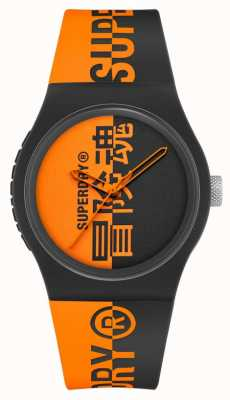 Superdry Correa de silicona suave al tacto estampada en negro y naranja | esfera de impresión naranja SYG346BO