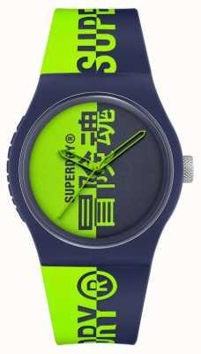 Superdry Correa de silicona suave al tacto estampada en azul marino y verde | esfera de impresión verde SYG346UN