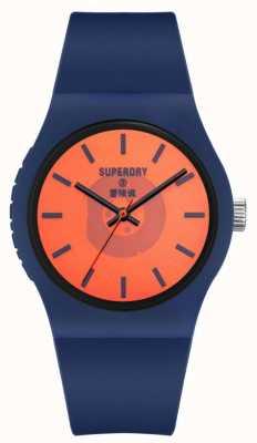Superdry Correa de silicona de tacto suave azul marino | esfera naranja semitransparente SYG347UO