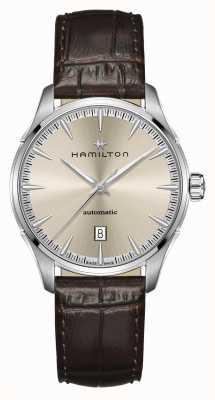 Hamilton Jazzmaster   auto   correa de cuero marrón   esfera de champán H32475520