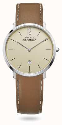 Michel Herbelin Ciudad | correa de cuero marrón | esfera de champán 19515/17NGO