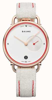 Baume & Mercier Baume | cuarzo ecológico | esfera blanca | correa con respaldo de corcho blanco M0A10602