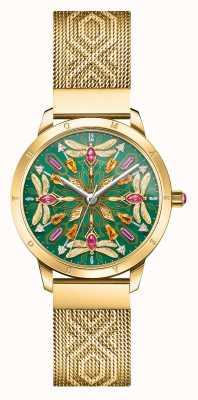 Thomas Sabo   glam y alma   pulsera de malla en tono dorado   libélula de piedras preciosas   WA0369-264-211-33
