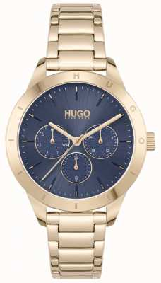 HUGO #amigo | pulsera de acero chapado en oro | esfera azul 1540092