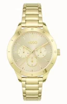 HUGO #amigo | pulsera de acero chapado en oro | esfera de oro 1540091