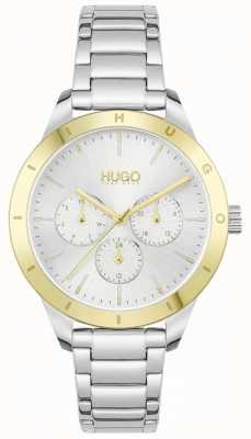 HUGO #amigo | pulsera de acero inoxidable | esfera plateada 1540090