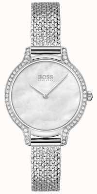 BOSS | gala | mujer | pulsera de malla de acero inoxidable | esfera plateada | 1502558