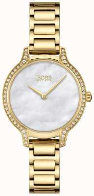BOSS | gala | mujer | pulsera chapada en oro | esfera de nácar blanco | 1502557