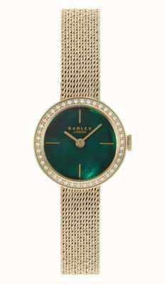 Radley | mujer | pulsera de malla chapada en oro | esfera de nácar verde | RY4568