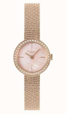 Radley | mujer | pulsera de malla chapada en oro rosa | esfera de nácar rosa | RY4570