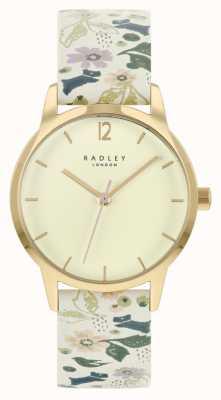 Radley Correa de piel floral blanca para mujer | esfera de champán RY21232A