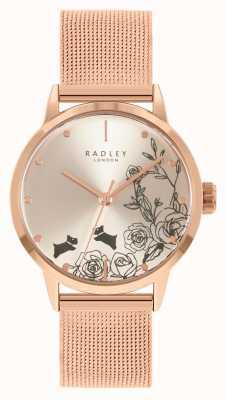Radley Pulsera de malla de oro rosa para mujer | esfera floral plateada RY4582A