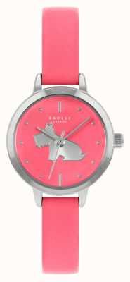 Radley Correa de piel rosa brillante para mujer | esfera rosa RY21253A