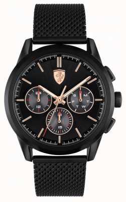 Scuderia Ferrari Gran gira | pulsera de malla negra para hombre | esfera negra 0830807