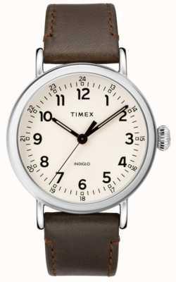 Timex Correa de piel marrón estándar para hombre | esfera beige TW2T20700