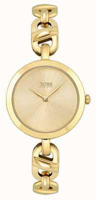 BOSS Mujeres | nueva cadena | esfera de oro | brazalete de acero pvd dorado 1502591