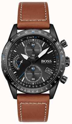 BOSS Hombres | edición piloto | crono | esfera negra | cuero marrón 1513851