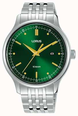 Lorus Hombres | esfera verde rayos de sol | pulsera de acero inoxidable RH907NX9