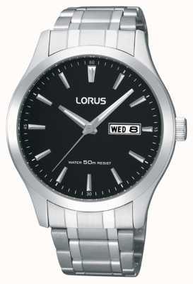 Lorus Hombres | esfera negra | pulsera de acero inoxidable RXN23DX9