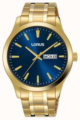Lorus Hombres | esfera azul | pulsera de acero chapado en oro RH340AX9