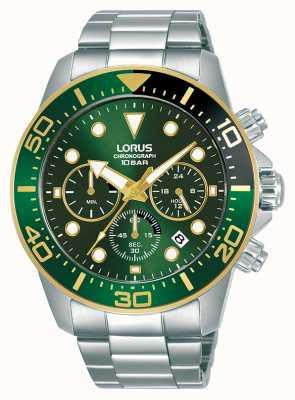 Lorus Hombres | cronógrafo | esfera verde | pulsera de acero inoxidable RT340JX9
