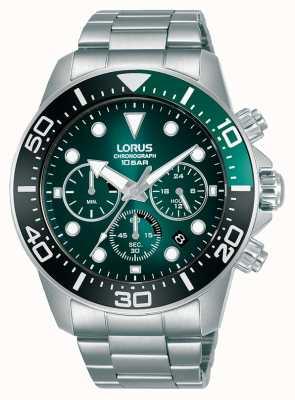 Lorus Cronógrafo para hombre | esfera verde | pulsera de acero inoxidable RT341JX9