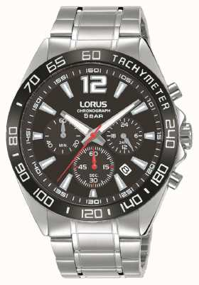 Lorus Hombres | cronógrafo | esfera negra | pulsera de acero inoxidable RT335JX9