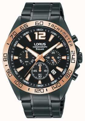 Lorus Hombres | cronógrafo | esfera negra | pulsera de acero ip negro RT336JX9