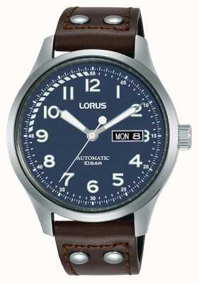 Lorus Hombres | automático | esfera azul | correa de cuero marrón RL463AX9