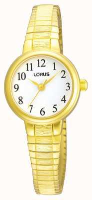 Lorus Mujeres | esfera blanca | brazalete expandible de acero inoxidable dorado RG236NX9