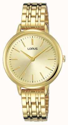 Lorus Mujeres | esfera de oro con rayos de sol | brazalete de acero chapado en oro pvd RG204QX9